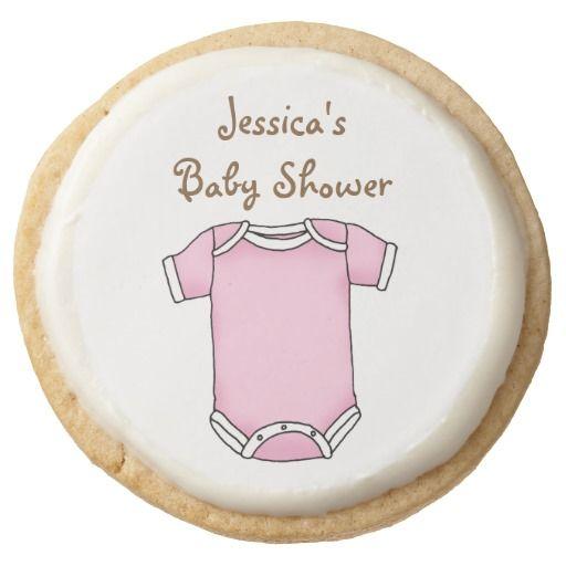 cute pink new baby girl cloth baby shower round premium shortbread cookie