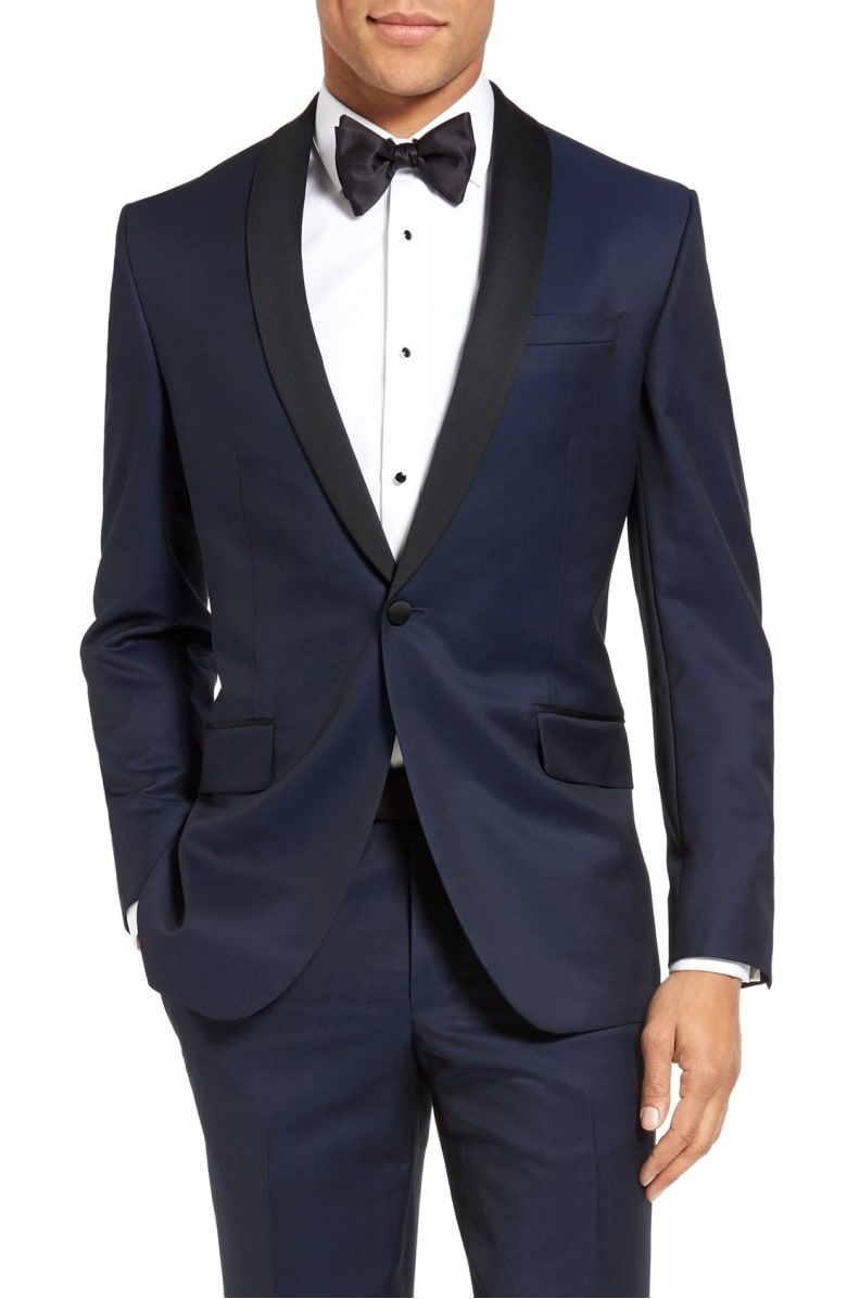 7975822d1e7fec Josh' Trim Fit Navy Shawl Lapel Tuxedo, Alternate, color, Navy Blue ...