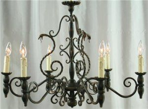 Vintage French Chandelier, Metal Asps/Snakes, Black, Gothic, Wood Column/Ball FREE SHIPPING*