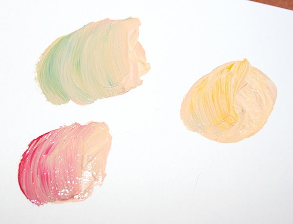 Step 5: Look again at your reference picture, if applicable. Can you see prominent secondary tones in the skin, such as blue or red? Make sure to make a variation of your new base with this undertone color, to keep on hand for while you paint