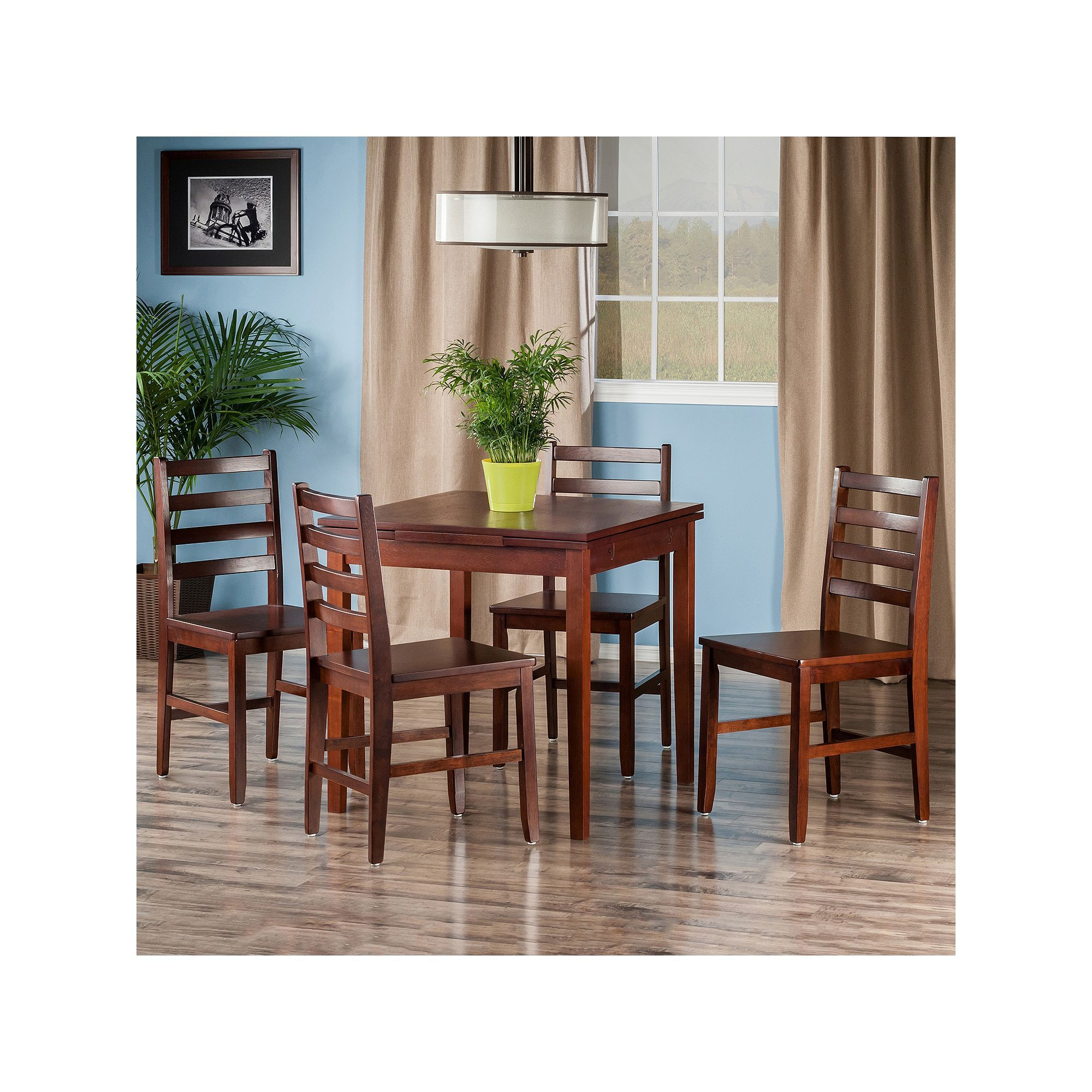 10c4c9fbfa60 Winsome Pulman Extension Table & Ladder Back Chair 5-piece Set, Brown Oth