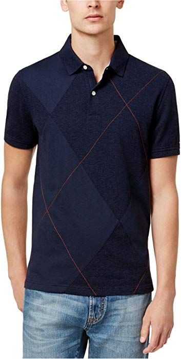 aabd9484c816 Tommy Hilfiger Mens Atticus Argyle Rugby Polo Shirt Blue L at Amazon Men s  Clothing store