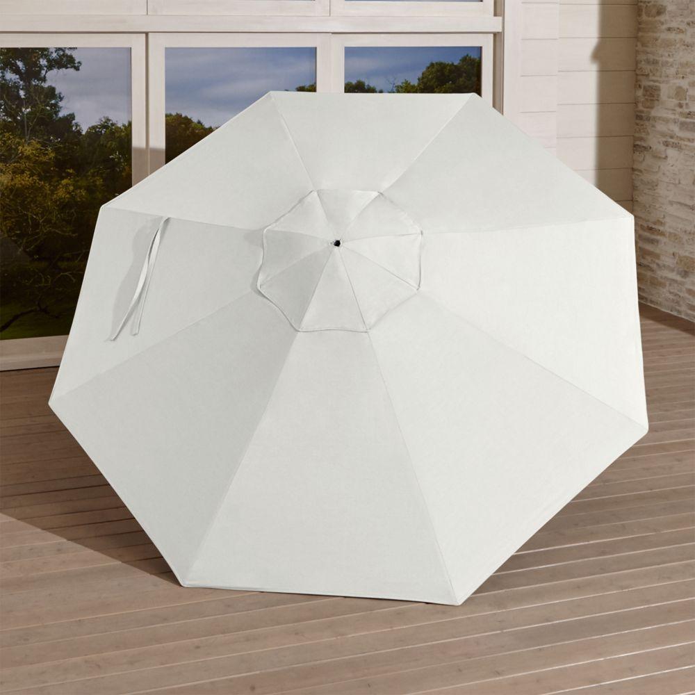 9' Round Sunbrella ® White Sand Umbrella Canopy - Crate and Barrel
