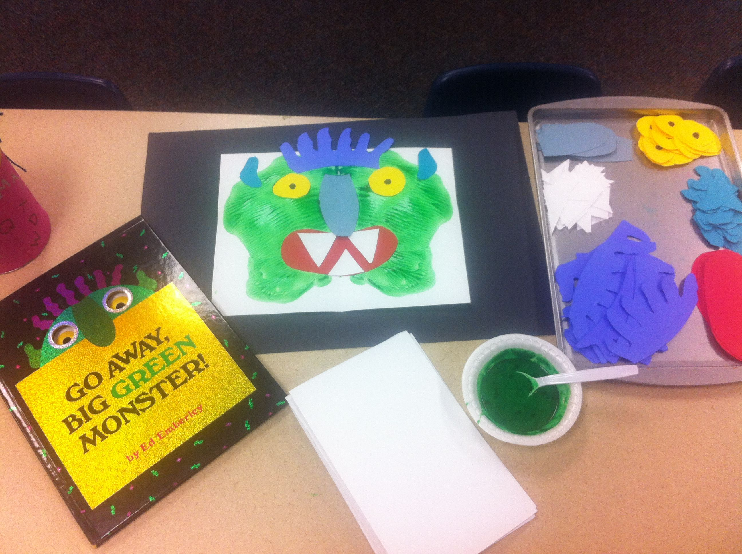 Go Away Green Monster Paint Put In A Crease Of Folded Paper Fold The And Squish Around Open To Form Your Face