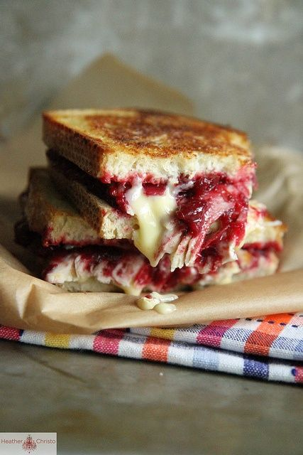 Roasted Turkey, Cranberry and Brie Grilled Cheese -2 large pieces sourdough  bread -4-6 ounces roasted turkey breast -2 ounces blue streaked brie cheese  ...