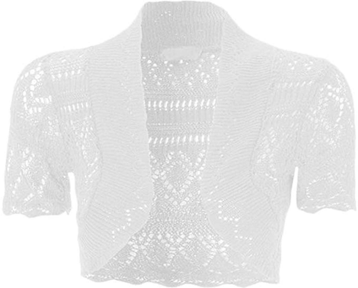 Loxdonz Girls Kids Short Sleeve Crochet Knitted Bolero Shrug Top
