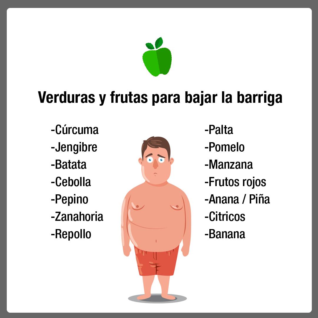 frutas y verduras para bajar la panza