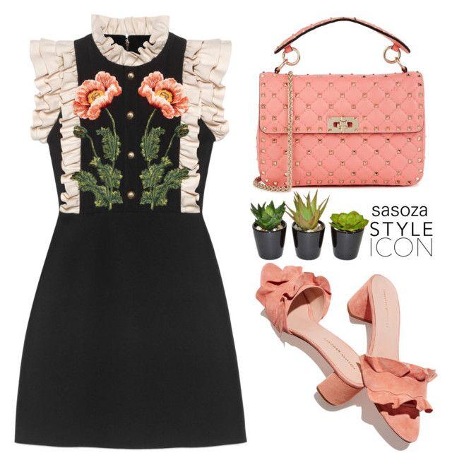 """Gucci dress by Sasoza"" by sasooza ❤ liked on Polyvore featuring Gucci, Loeffler Randall, Valentino and The French Bee"