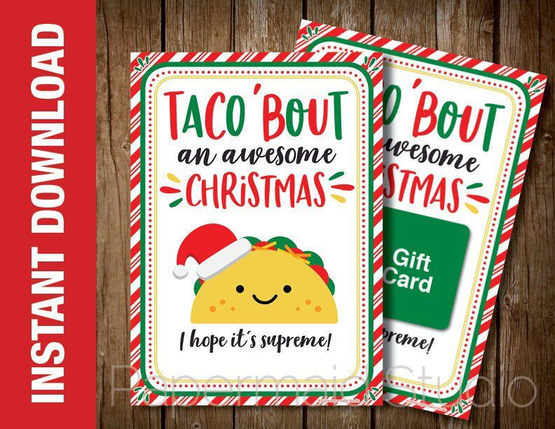 Photo of PRINTABLE Taco Christmas Card – Taco Gift Card Holder – Mexican Restaurant Gift Card Holder -…