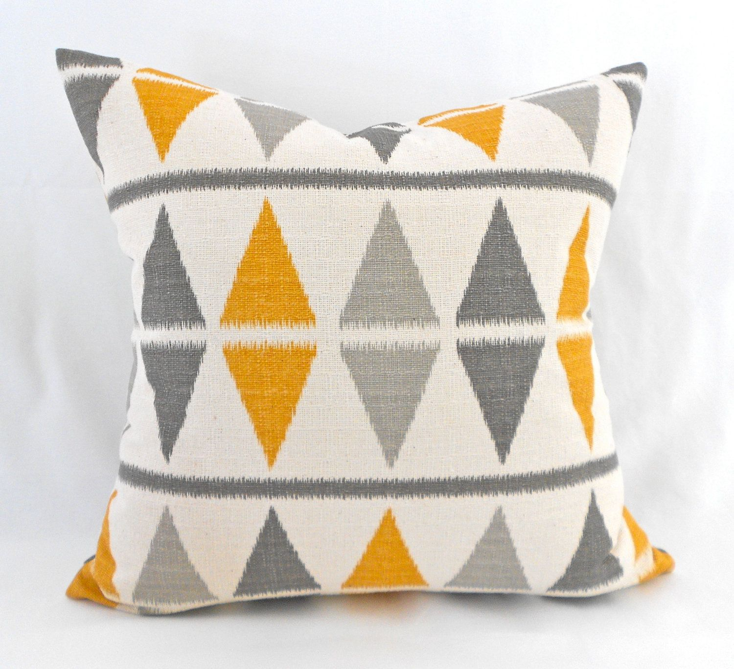 2 Designer Pillow Covers Ikat Grey Sunflower Yellow Cream Any Size ...