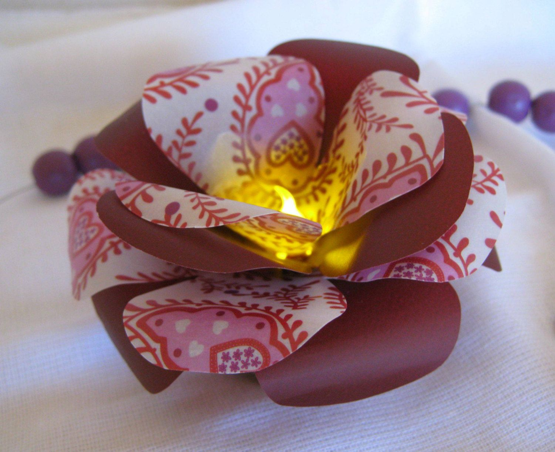 Set Of 6 Led Paper Flowersled Light Maroon Rosespaper Wedding
