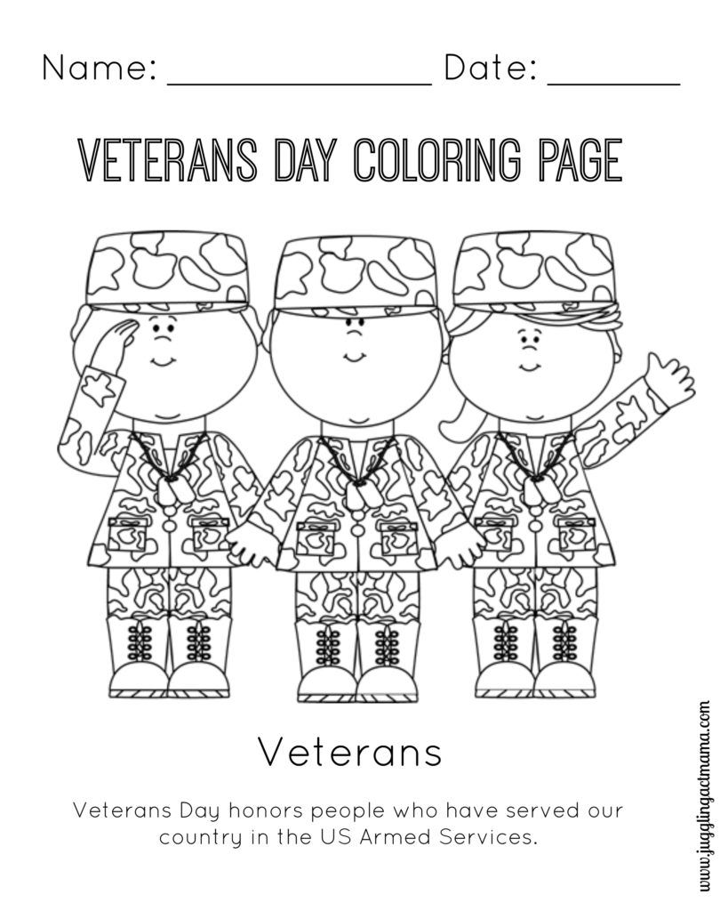 Veteran\'s Day Printable Coloring Page | Veterans day ...