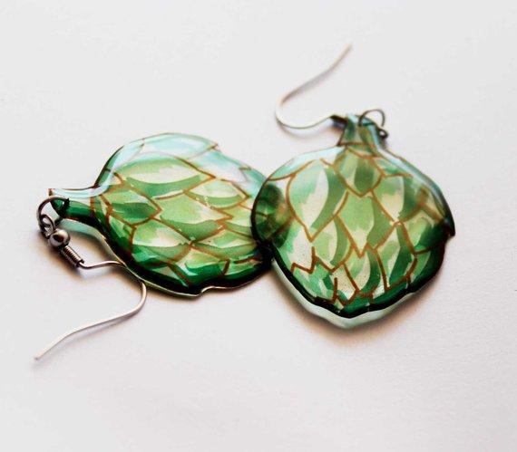 handmade earrings vegan gift vegetarian gift food jewelry vegetable earrings artichoke earrings natu