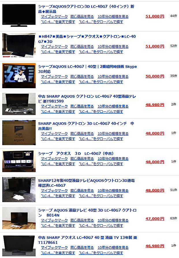 【SHARP】シャープ AQUOS クアトロン 3D LC-40G7 40インチテレビ 相場