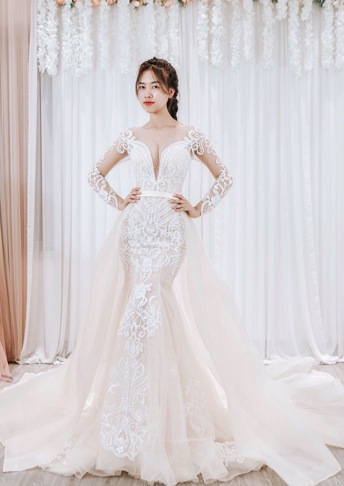 Detachable Skirt Wedding Dress/ Mermaid Bridal Gown