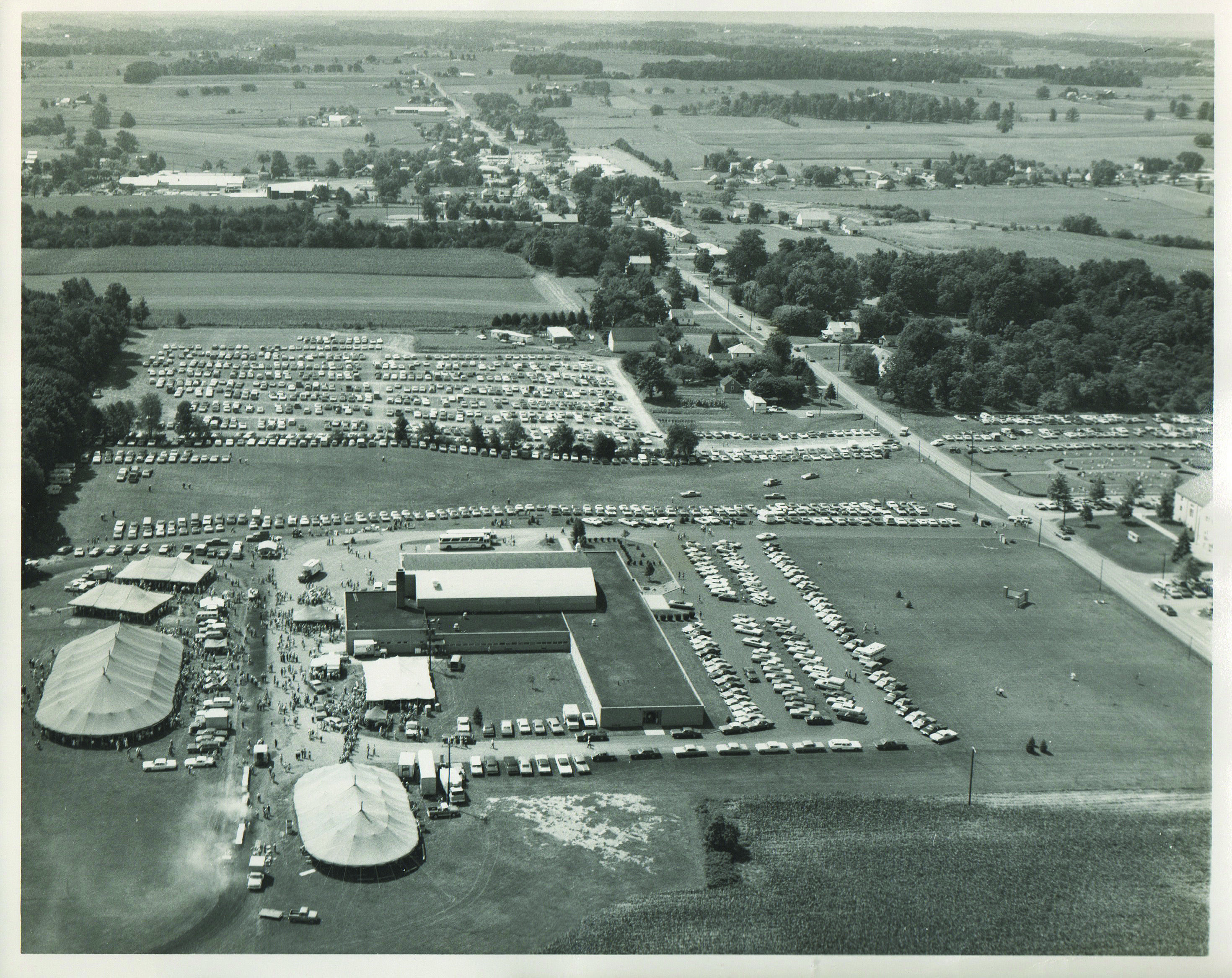 1973 aerial photo of the relief sale at kidron central