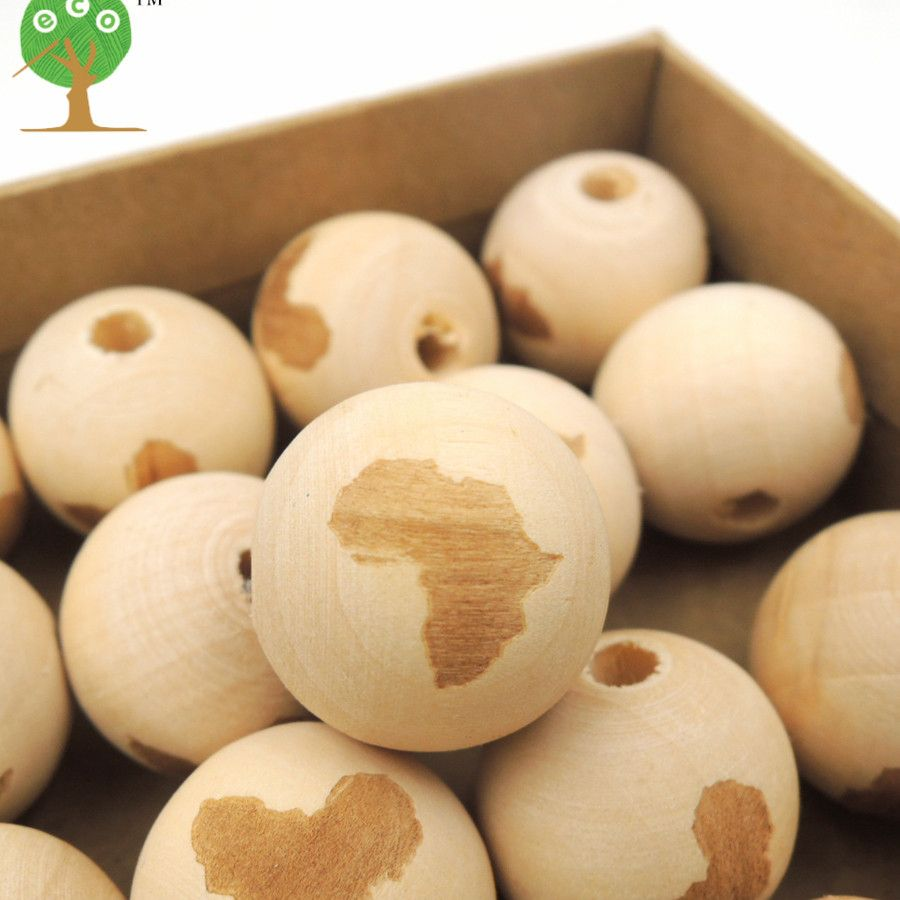 30pcs wood round ball AFRICAN MAP OUTLINE