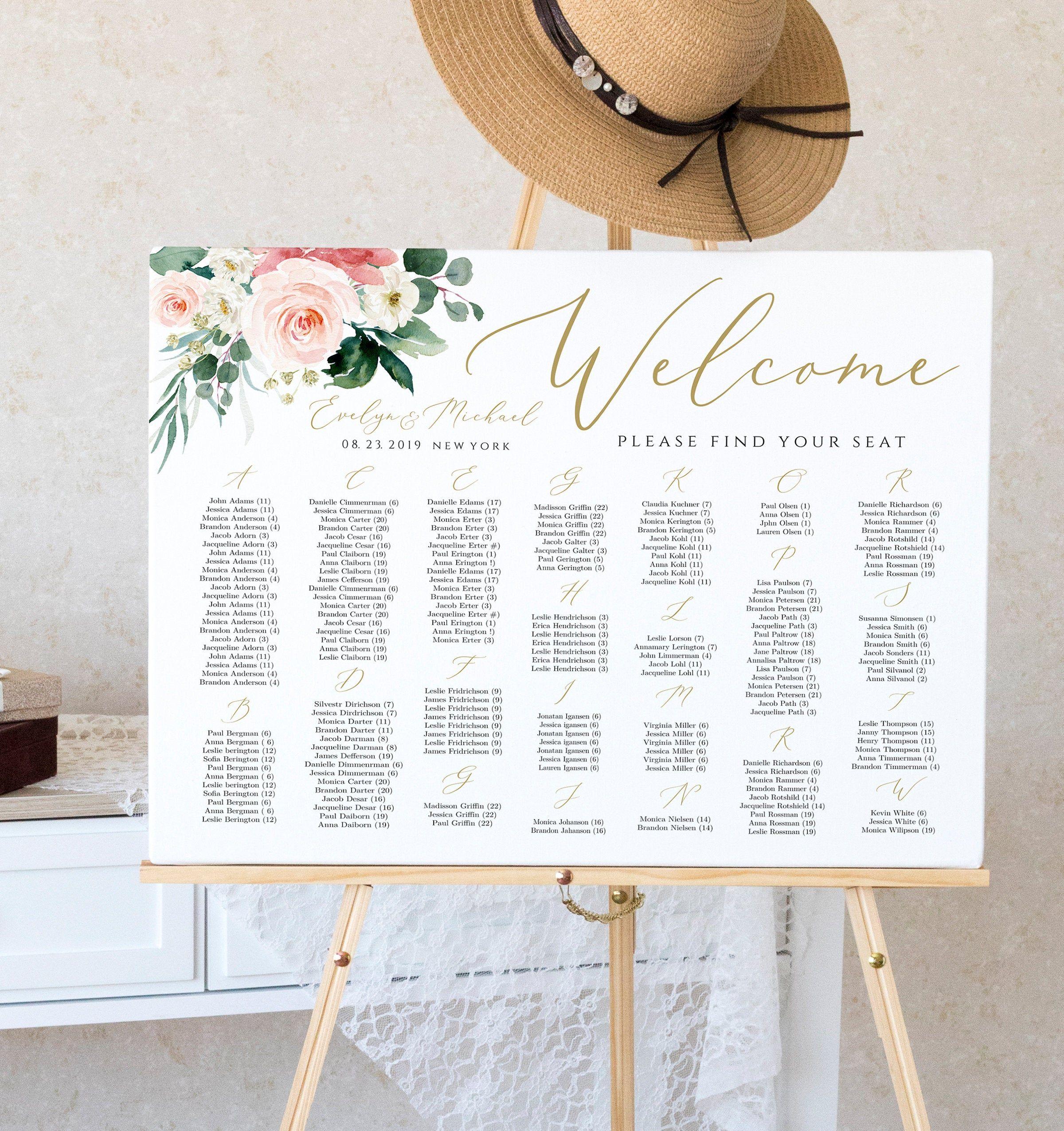 Alphabetical Seating Chart Sign Template Editable Wedding Etsy Wedding Wine Labels Wine Wedding Wedding Guest Book