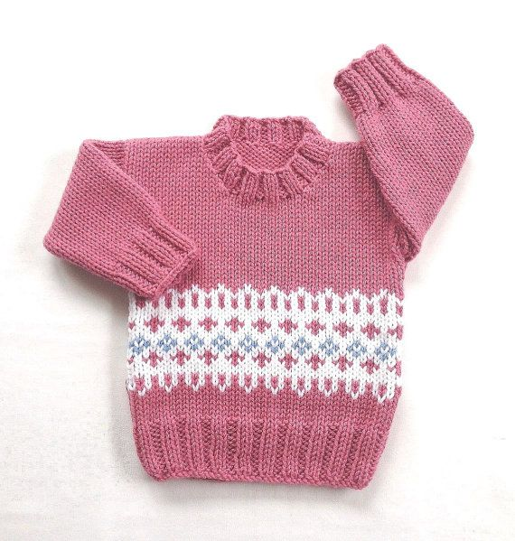 f01254981 Fair Isle baby sweater - 6 to 12 months - Knit baby jumper - Baby ...