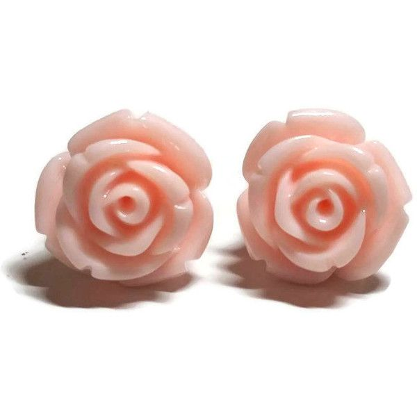 6 05 Liked On Polyvore Featuring Jewelry Earrings Accessories Rose Jewellery Stud Light Pink And Flower