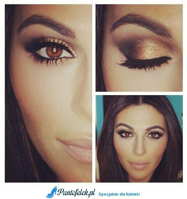 Brązowe Oczy Idealnie Pasują Do Tego Makijażu Make Up Pinterest