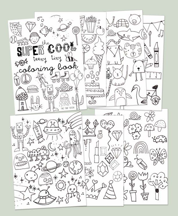 free printable mini coloring book from the tiny totem - Mini Coloring Books