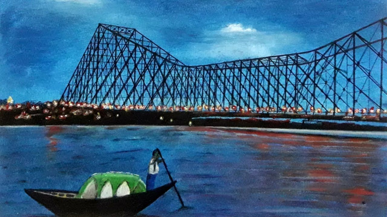 Howrah bridge drawingoil pastel painting for beginnersartcraft with