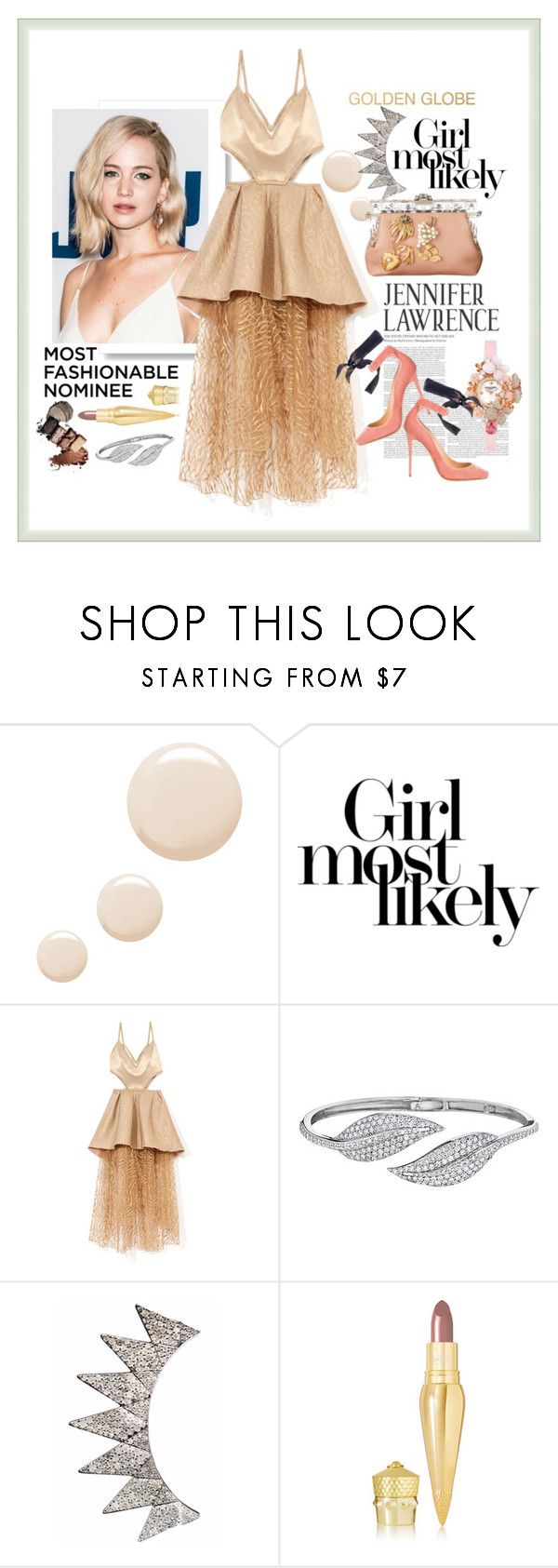 """""""JLaw"""" by harperleo ❤ liked on Polyvore featuring Topshop, Rodarte, Penny Preville, Christian Louboutin and GoldenGlobes"""