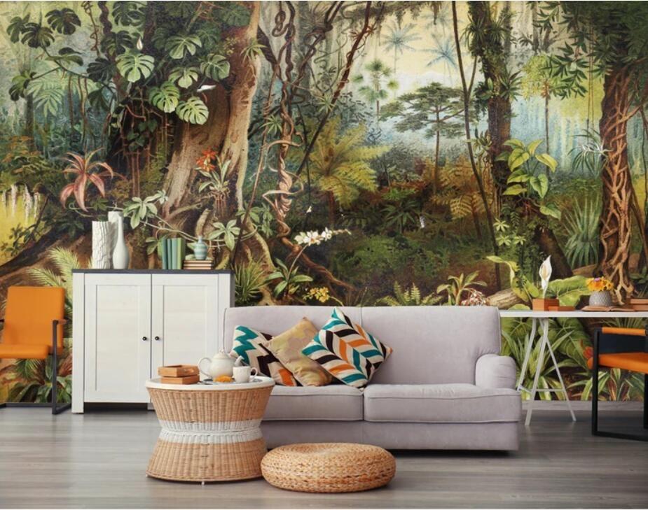Vintage Tropische Regenwoud Behang Muurschildering