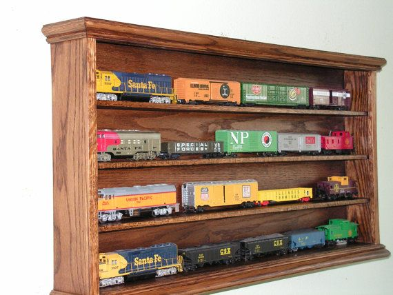 HO Train display case cabinet four shelf oak for your model
