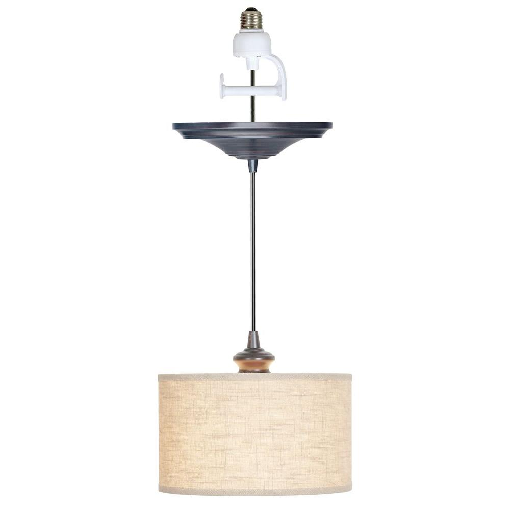 Worth Home Products Instant Pendant 1 Light Recessed Light Conversion Kit Brushed Bronze Linen Drum Shade Pbn 3729 0011 Recessed Light Conversion Kit Screw In Pendant Light Recessed Lighting