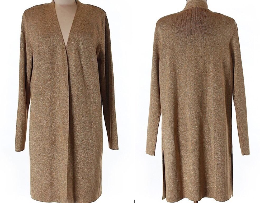 🎁QVC SUSAN GRAVER Duster Cardigan Sweater Top Gold Metallic ...