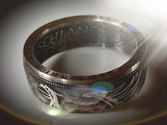 Coin Ring Münzring 5 DM Silberadler 5 Deutsche Mark