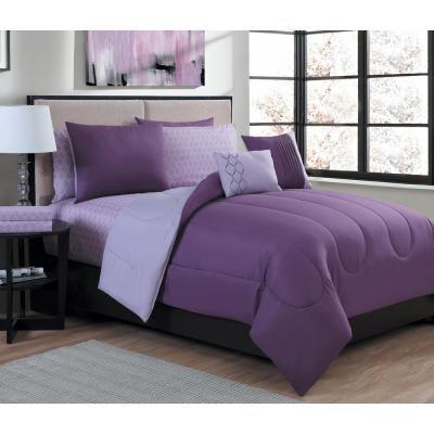 Geneva Home Fashion Lattice 9 Piece Purple Light Purple Queen Bed