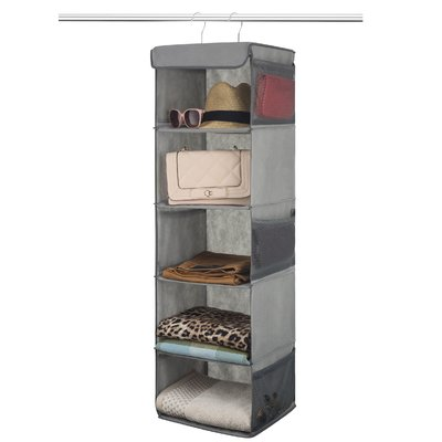 Rebrilliant Gino 5 Shelf Hanging Organizer Finish Grey In 2020 Hanging Closet Organizer Clothes Shelves Hanging Closet