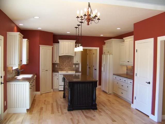 mesmerizing red white kitchen cabinets | Sherman Williams Flower Pot, white cabinets, espresso ...