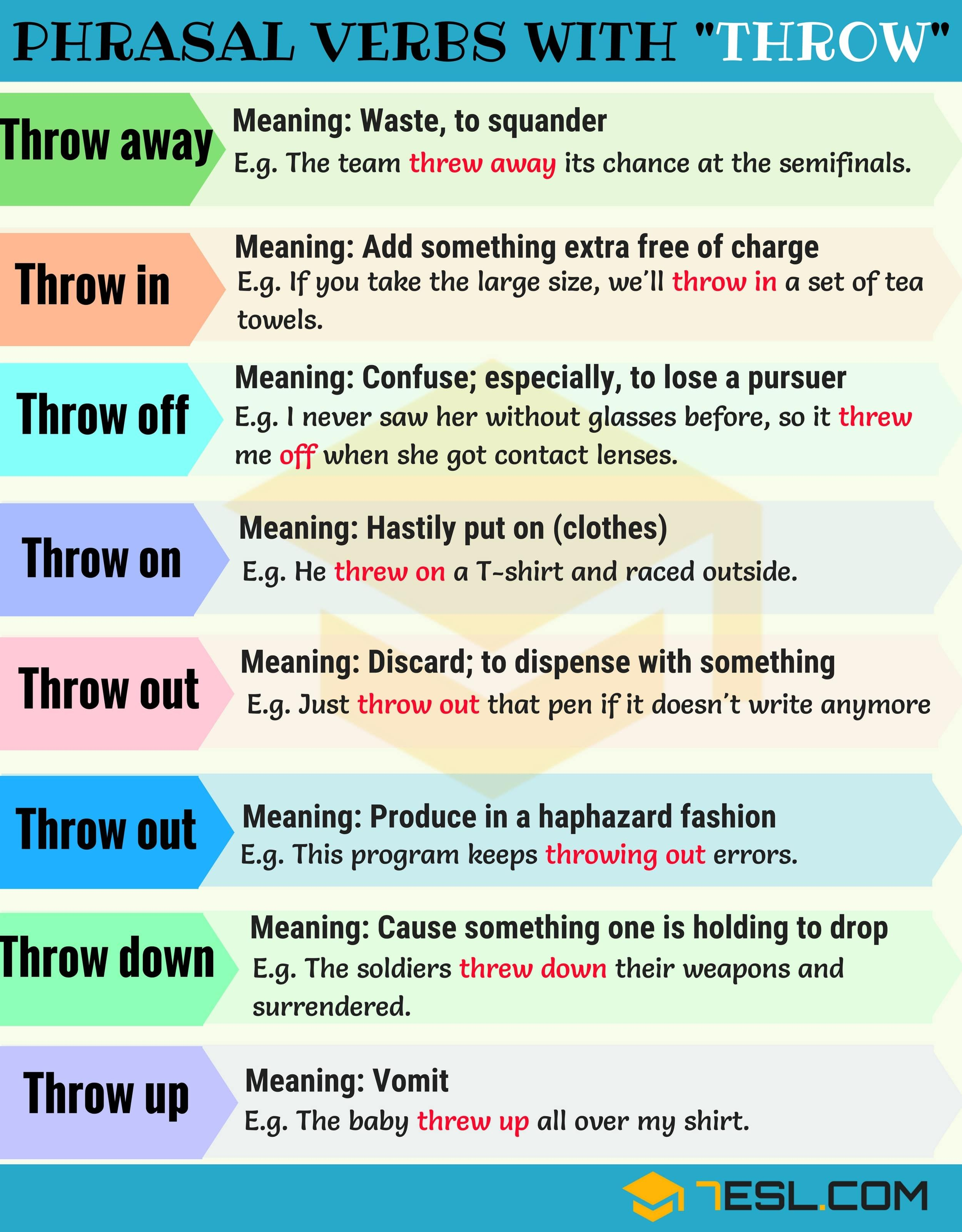 14 Phrasal Verbs With Throw Throw Away Throw Out Throw