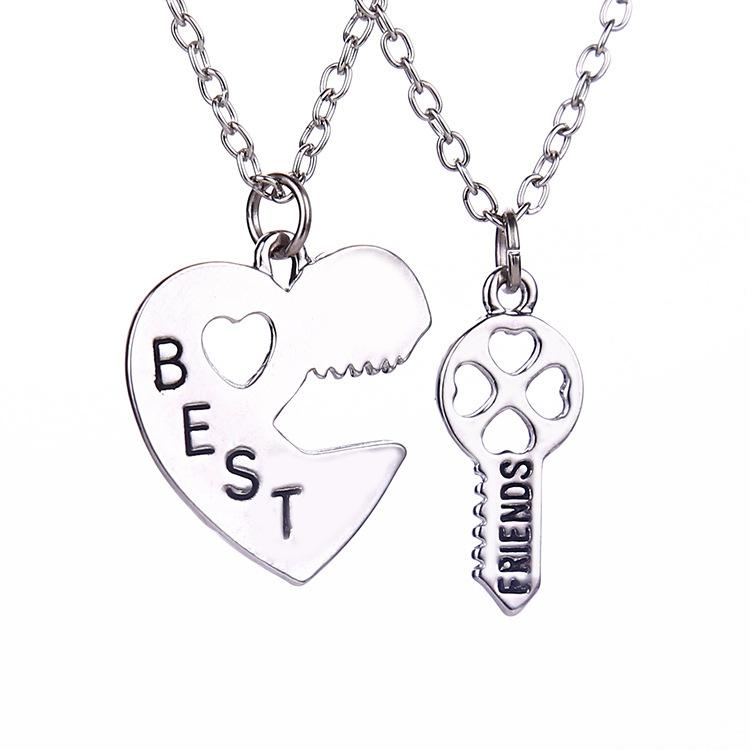 best friend necklaces key to the heart pendant necklaces lock and