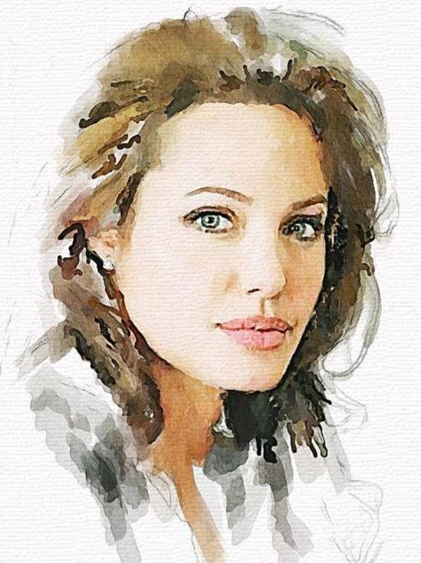 Angelina Jolie Vitaly Shchukin Watercolor Portraits