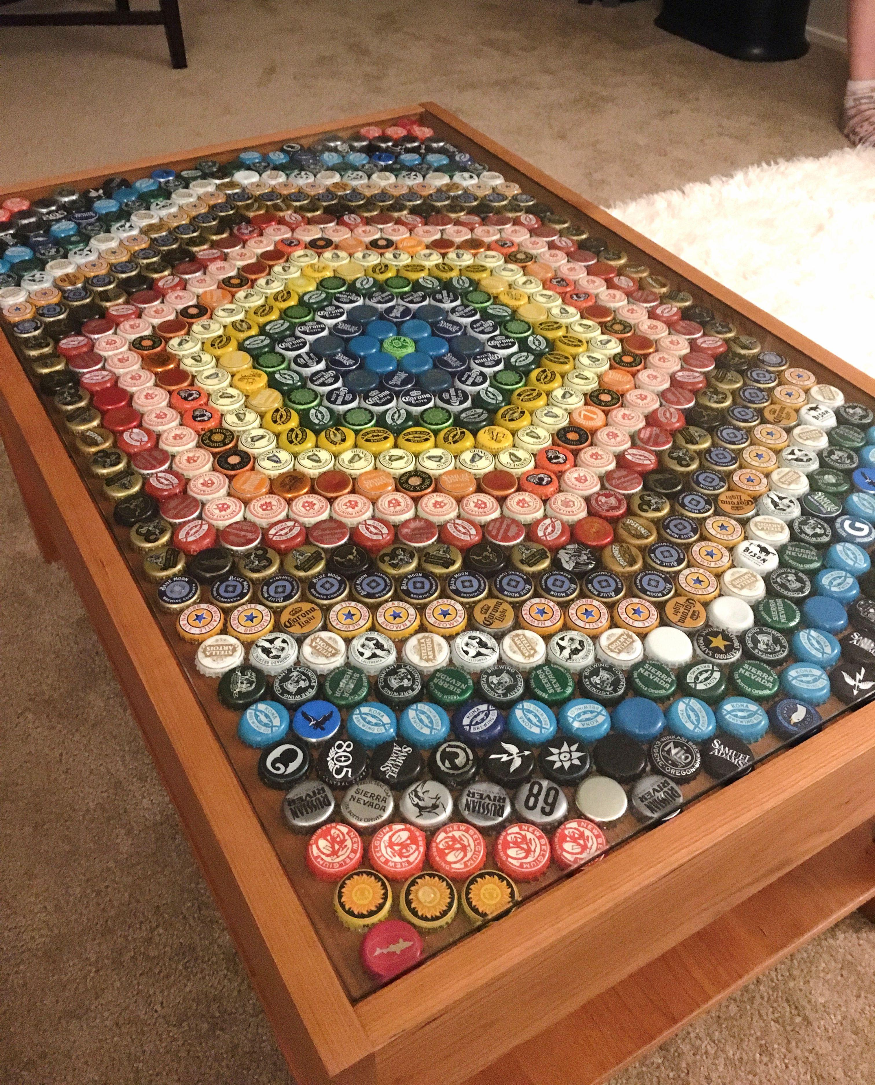 Beer Bottle Cap Table Bottle Cap Crafts Beer Cap Table