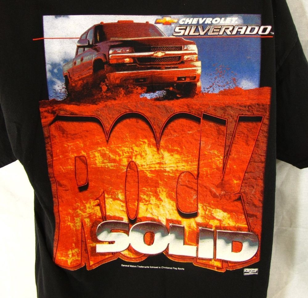 Chevrolet Silverado T-Shirt Adult XL Black Vintage Rock Solid Extra Large Truck #MO #GraphicTee