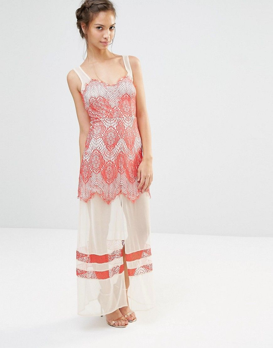 Image of boohoo lace and mesh panelled maxi dress long dresses