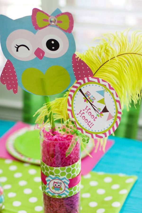Cute Idea For Decoration. You Could Use Dollar Tree Vases And Get The  Colored Paper · Owl CenterpiecesBaby Shower ...