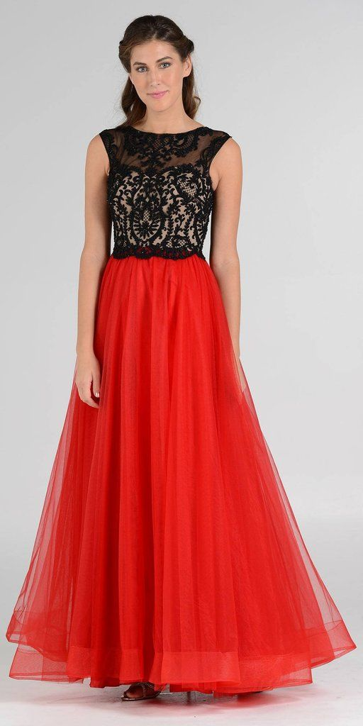 Embroidered Top Layered Mesh Skirt Sleeveless Black/Red Ball Gown ...