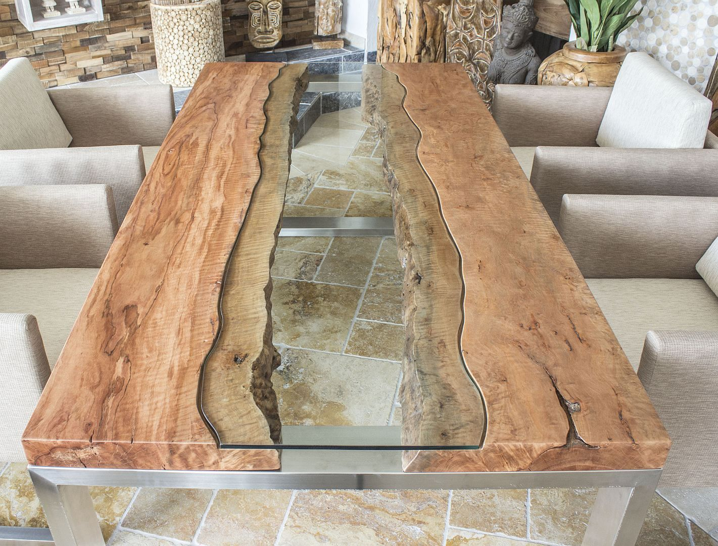 der tischonkel designertisch massivholztisch mit glas und edelstahl holz pinterest. Black Bedroom Furniture Sets. Home Design Ideas