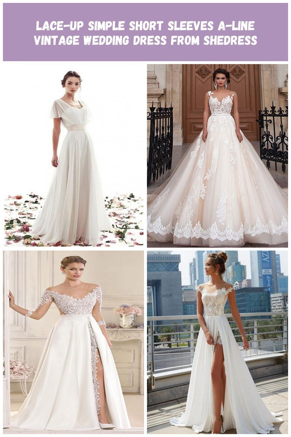 Lace Up Simple Short Sleeves A Line Vintage Wedding Dress Shedress Online Store Powere Wedding Dresses Lace Colored Wedding Dresses Wedding Dresses Vintage