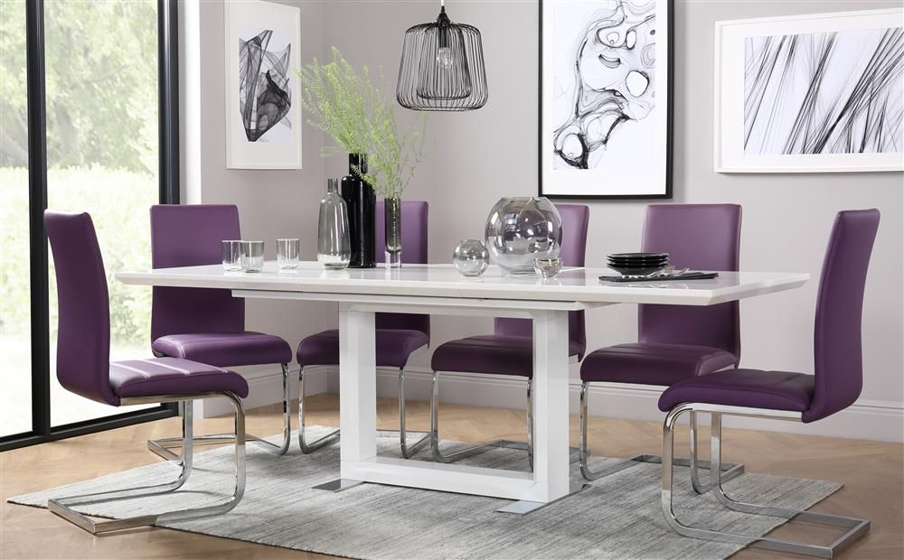 Tokyo White High Gloss Extending Dining Table And 6 Chairs Set Perth Purple Only 69999