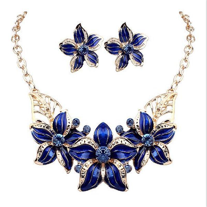 Nieuwe Sieraden Sets Ketting Oorbellen Crystal Enamel Bloem Afrikaanse Maxi Statement Sieraden Wedding Bridal Hanger Jurk Accessoires