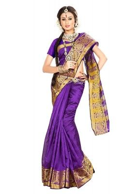 Traditional Purple Banarasi Silk Saree - 71652
