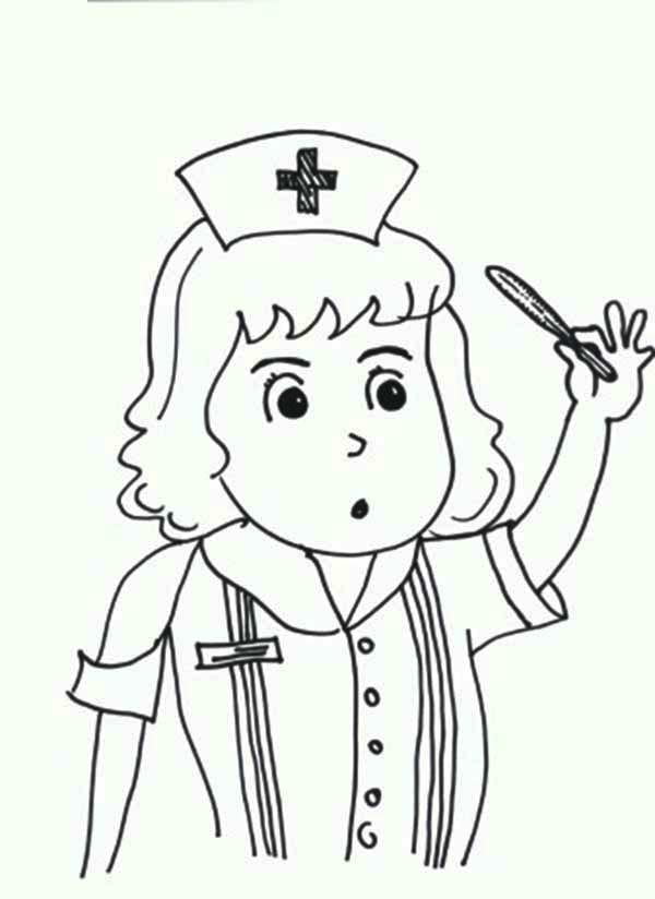 Nurse Checking Medical Kit Thermometer Coloring Page Coloring Sky Coloring Pages People Coloring Pages Coloring Pages For Kids